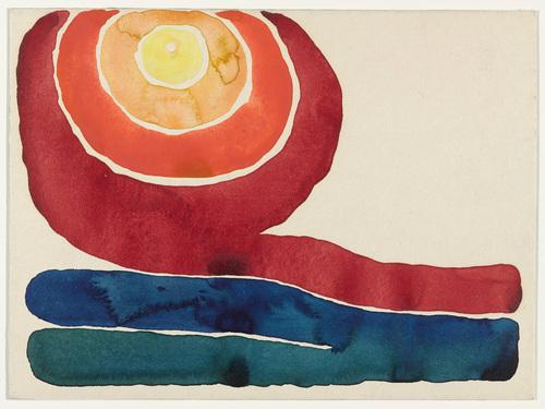 "Georgia O'Keeffe, Evening Star, No. III 1917. Watercolor on paper mounted on board, 8 7/8 x 11 7/8"" (22.7 x 30.4 cm)."