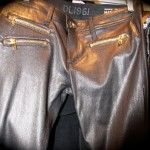 DL leather pants with gold zipper detail