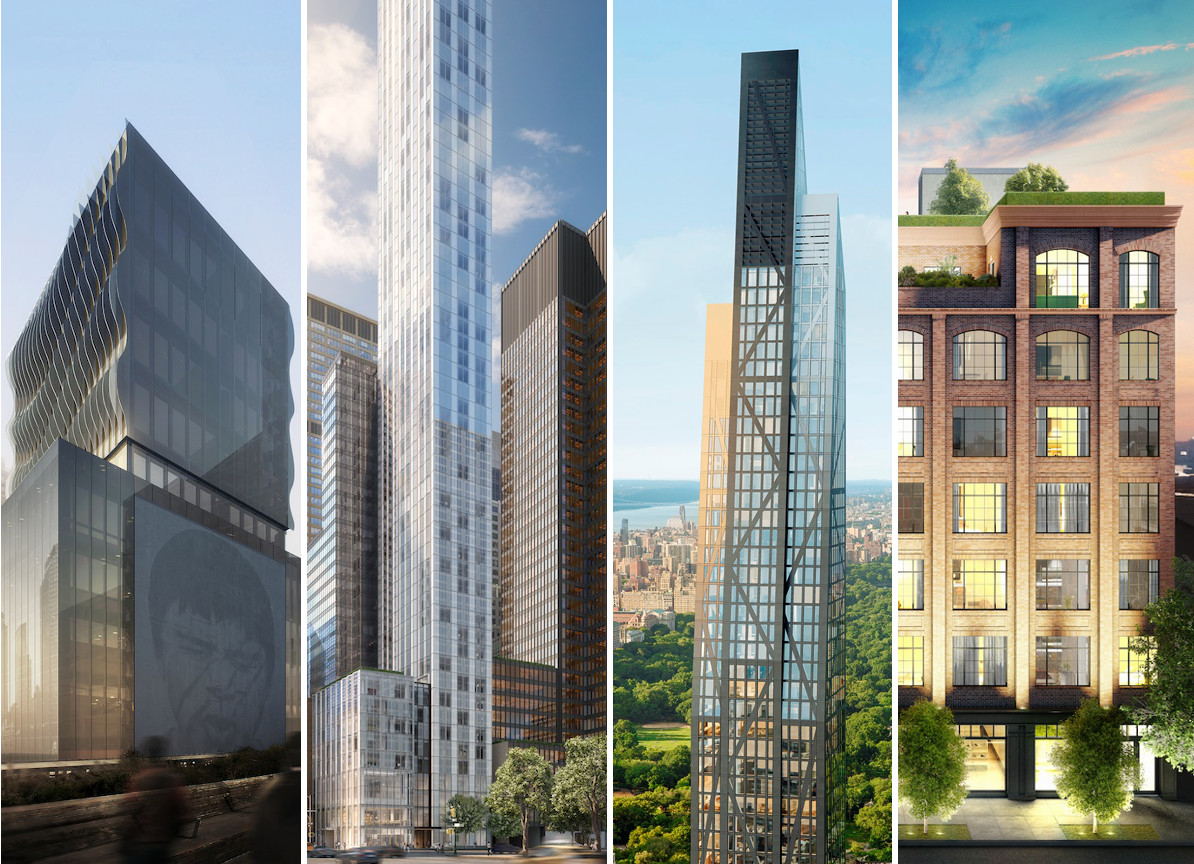 From left, Soo Chan's 515 Highline, Norman Foster's 100 East 53rd Street, Jean Nouvel's 53 West 53rd Street, and Issac & Stern's wd~50-replacing Lower East Side condos at 50 Clinton Street