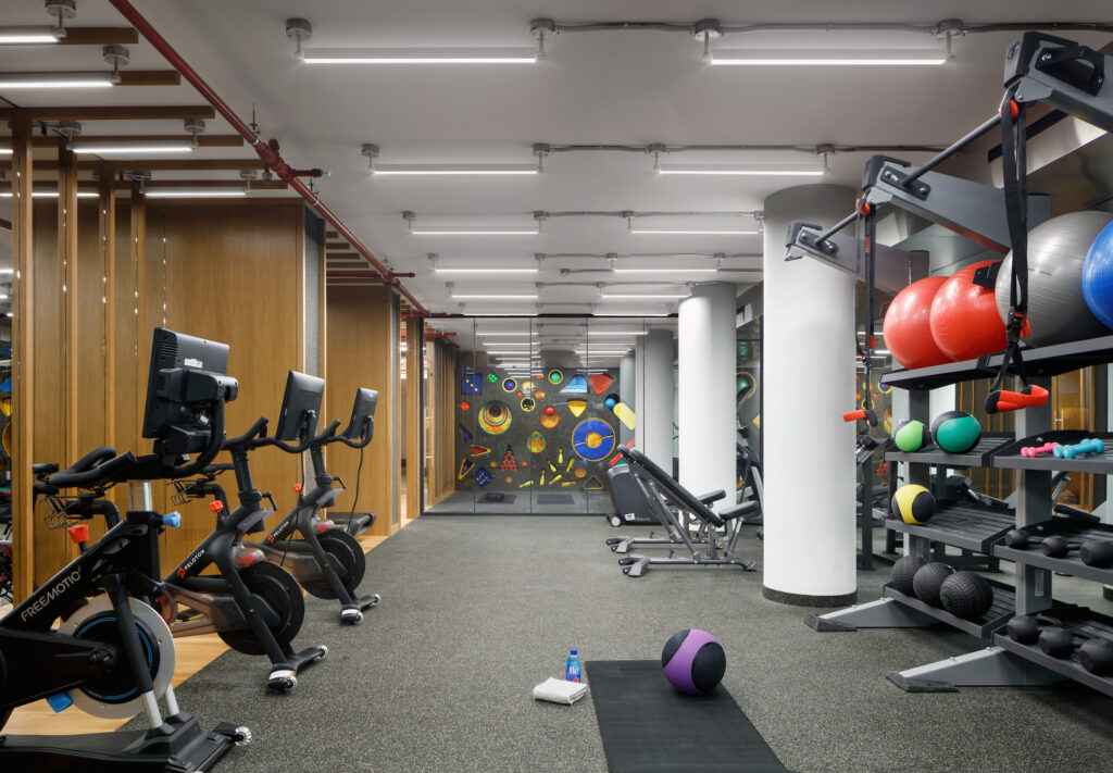 Large gym at new development New York City condo building.