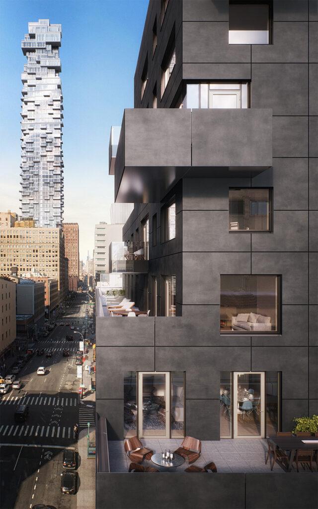 Outdoor balconies at new development New York City condo building.